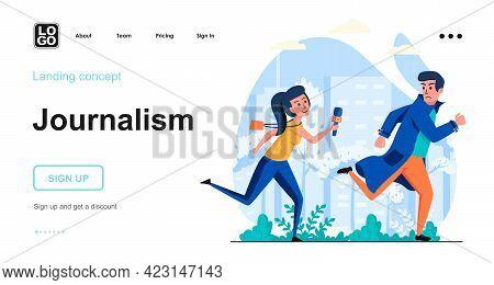 Journalism Web Concept. Woman Journalist Running For Man To Interview. News Program, Mass Media. Tem