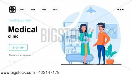 Medical Clinic Web Concept. Doctor Consults And Diagnoses Patient In Office. Man Visited Therapist.
