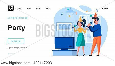 Party Web Concept. Man And Woman Celebrating Holiday, Singing In Karaoke. Couple Having Fun At Home.