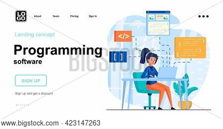 Programming Software Web Concept. Woman Coding Code, Programs In Different Programming Languages. Te