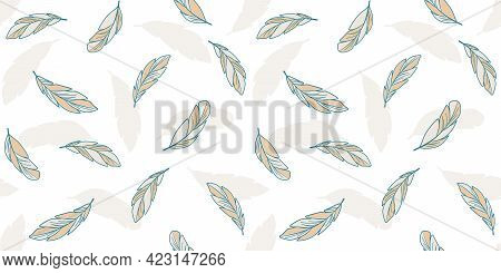 Beige And Turquoise Feathers On A White Background With A Silhouette Of Feathers. Endless Texture In