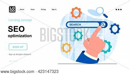 Seo Optimization Web Concept. Setting Up Browser Search, Site Ranking, Strategy Promotion, Traffic.