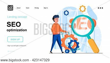 Seo Optimization Web Concept. Man Setting Up Search Engine, Online Promotes Website, Boost Traffic.