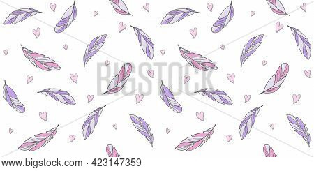Violet And Pink Feathers On A White Background With Small Heart. Endless Texture With Abstract Bird