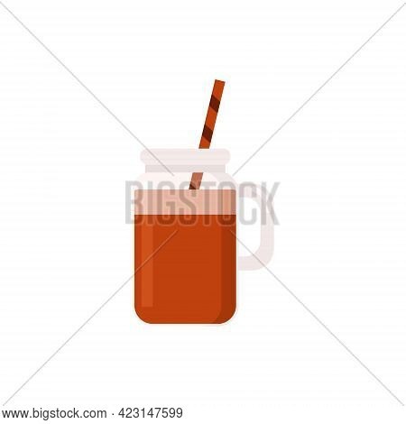 Flat Vector Illustration Of Cold Brew Coffee In Glass Mason Jar. Isolated On White Background.
