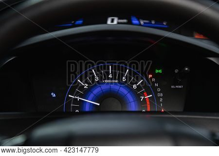 Novosibirsk, Russia - June 08, 2021: Honda Civic, Speedometer, Tachometer And Steering Wheel Speedom