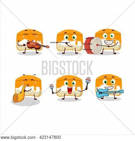 Cartoon Character Of Orange Cake Playing Some Musical Instruments