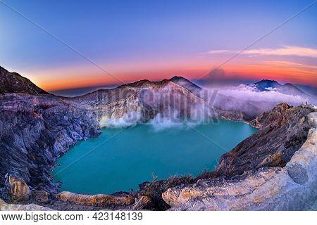 Beautiful View Of Kawah Ijen Lake And Volcano Early Morning At East Java, Indonesia.