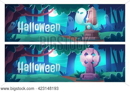 Halloween Cartoon Banners, Cemetery With Ghosts At Night, Old Graveyard With Tombstones In Midnight