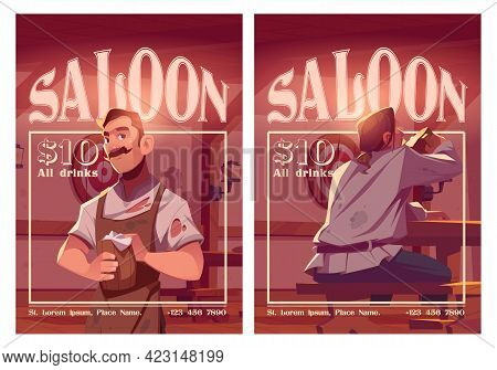 Saloon Cartoon Ad Posters, Old Style Tavern With Barista Holding Wooden Tankard And Visitor Dining.