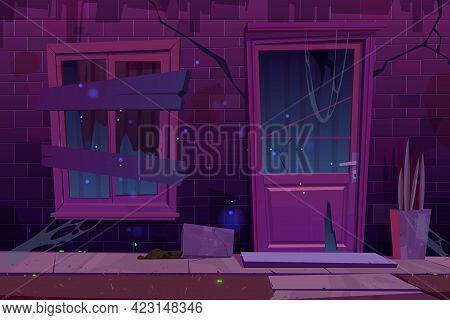 Old Brick House Facade With Broken Door And Boarded Up Window At Night. Vector Cartoon Illustration