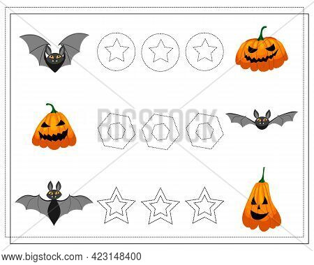 Handwriting Training Game For Kids, Point To Point, Bats, Pumpkins, Halloween. Vector Isolated On A