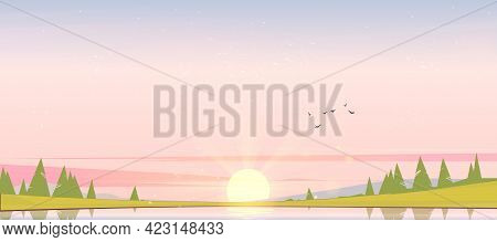 Sunrise Landscape With Lake, Birds In Sky, Silhouettes On Hills And Trees On Coast. Vector Cartoon I