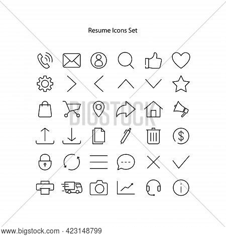 Click And Collect Service Line Icons. Vector Illustration With Icon - Online Shopping, Basket, Deliv