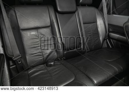 Novosibirsk, Russia - June 08, 2021: Nissan X-trail, Close-up Of The Black  Rear Seats With Seats Be