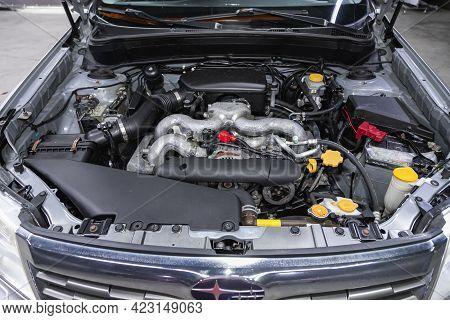 Novosibirsk, Russia - June 08, 2021: Subaru Forester, Car Engine Close-up. Internal Combustion Engin