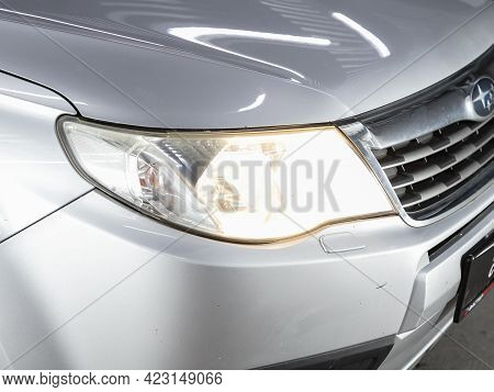 Novosibirsk, Russia - June 08, 2021: Subaru Forester, Detail Light Close Up Of On New Car. Exterior