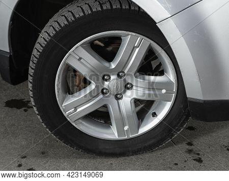 Novosibirsk, Russia - June 08, 2021: Subaru Forester, Close Up Of Car Wheel