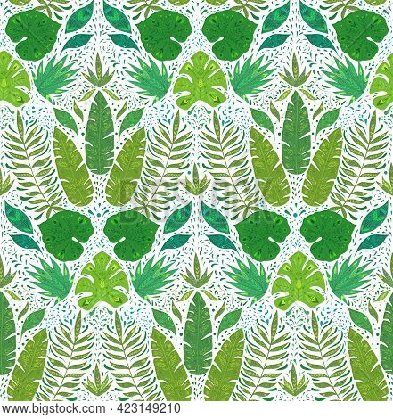 Seamless Damask Pattern With Monstera, Banana And Liana Leaves On White Background. Tropical Wallpap