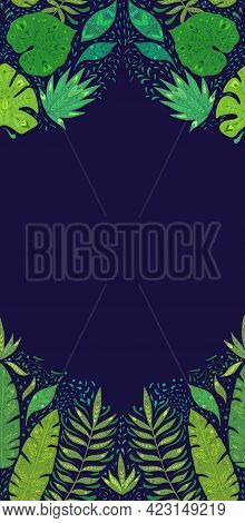 Vertical Card With Pattern With Monstera, Banana And Liana Leaves And Copy Space On Dark Blue Backgr