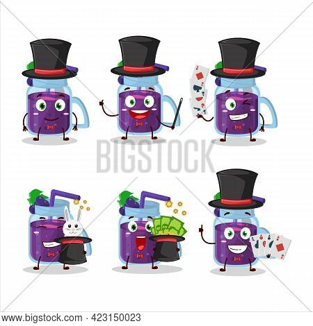 A Grapes Smoothie Magician Cartoon Character Perform On A Stage