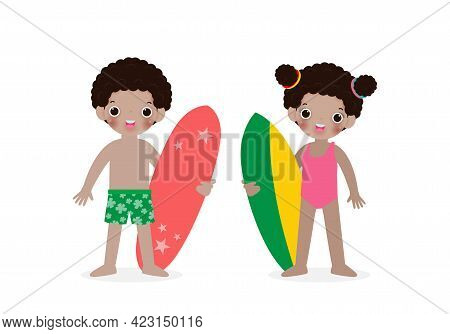 Summer Time And Set Of Cute Surfer African-american Children Character With Surfboard On Beach. Happ