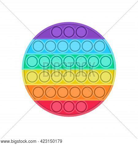 Bright Trending Pop It Fidget. Round Shape Anti-stress Toy For Children. Convex Iridescent Bubbles.
