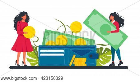 A Small Woman Puts A Coin And A Banknote In A Large Wallet. Business Lady And Investment.the Concept