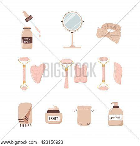 Rose Quartz Roller And Gua Sha Scraper. Set Of Facial Massage Tool. Chinese Skin Care Concept. Morni
