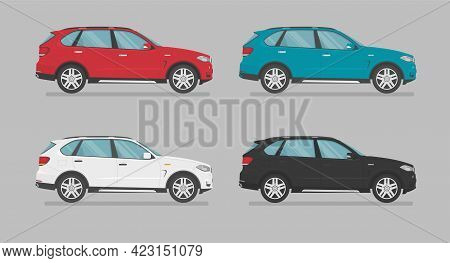 Vector Suv Cars. Cars Of Different Colors. Side View. Cartoon Cars In Flat Style.