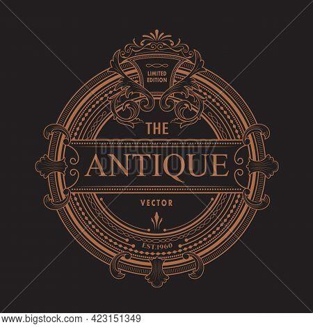 Antique Frame Logo Vintage Border Western Label Engraving Retro Vector Illustration