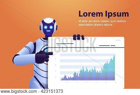 Modern Robot Analyzing Statistics Graph Financial Data Analyzing Artificial Intelligence Technology