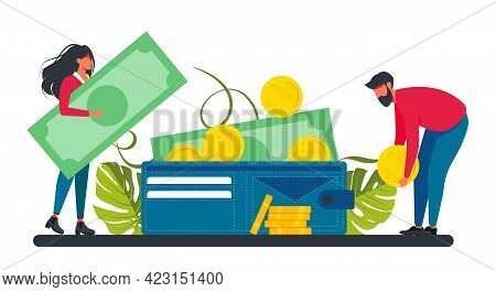A Small Woman And Man Puts A Coin And A Banknote In A Large Wallet. Business Lady And Investment. Li