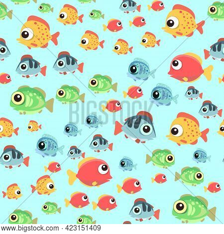 Funny Funny Fish. The Bottom Of The Reservoir. Sea Ocean. Underwater Landscape With Plants, Algae An