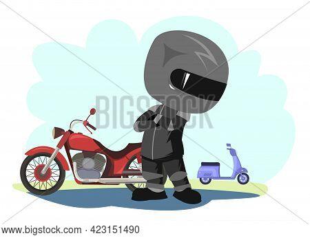 Biker Cartoon. Child Illustration. Compares Bikes. Sports Uniform And Helmet. Cool Motorcycle. Chopp