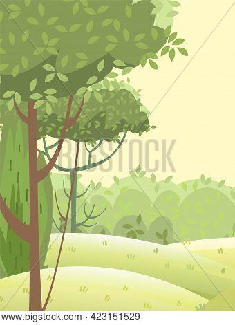 Amusing Beautiful Forest Landscape. Cartoon Style. Grass Hills. Distant Horizon. Rural Natural Look.