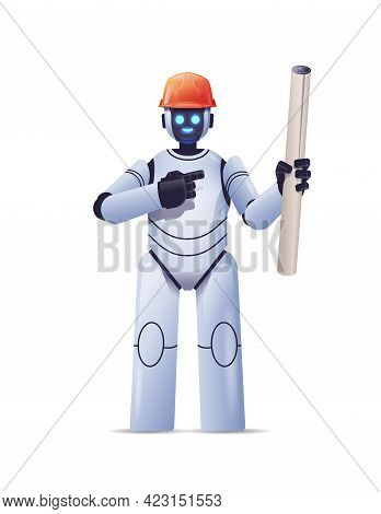 Robot Foreman Engineer In Hardhat Holding Construction Drawings Modern Robotic Architect With Bluepr