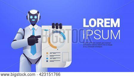 Modern Robot Analyzing Statistics Diagram Financial Data Analyzing Artificial Intelligence Technolog