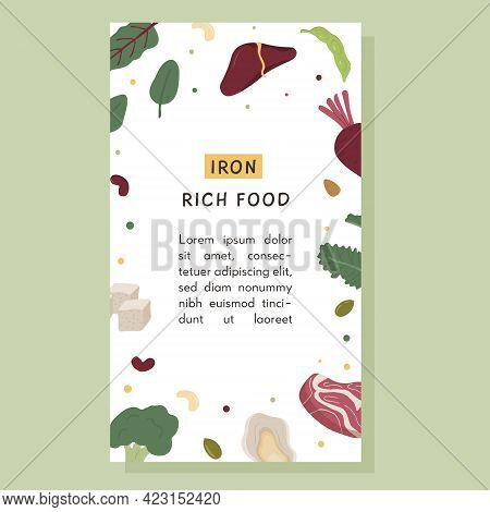 Social Media Banner Of Iron Rich Food Sources. Story Template With Various Sources Of Iron. Backgrou