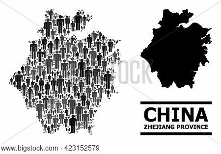 Map Of Zhejiang Province For Political Agitation. Vector Population Mosaic. Mosaic Map Of Zhejiang P