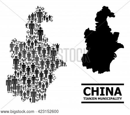 Map Of Tianjin Municipality For Demographics Proclamations. Vector Nation Collage. Collage Map Of Ti