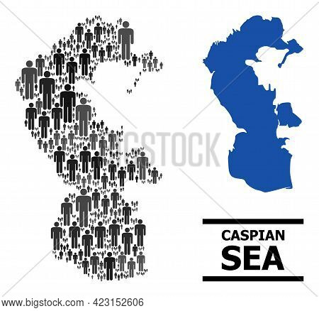 Map Of Caspian Sea For Political Proclamations. Vector Demographics Abstraction. Concept Map Of Casp