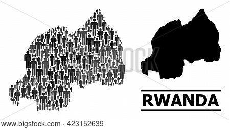Map Of Rwanda For Demographics Projects. Vector Population Mosaic. Concept Map Of Rwanda Made Of Men
