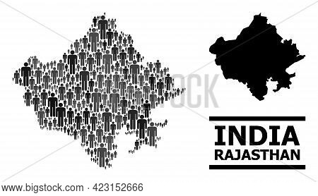 Map Of Rajasthan State For Demographics Doctrines. Vector Population Abstraction. Abstraction Map Of