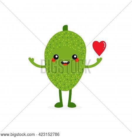 Cute Smiling Cartoon Style Jackfruit Character Holding In Hand Red Heart. Love And Appreciation Conc