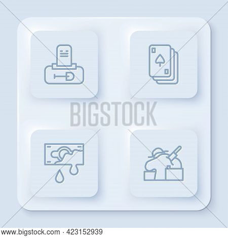 Set Line Grave With Tombstone, Playing Cards, Bloody Money And Murder. White Square Button. Vector