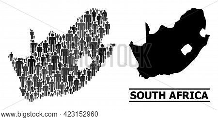 Map Of South African Republic For National Proclamations. Vector Nation Collage. Collage Map Of Sout