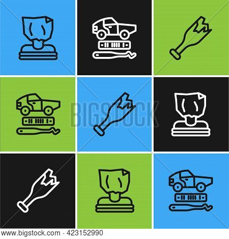 Set Line Kidnaping, Broken Bottle As Weapon And Car Theft Icon. Vector