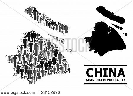 Map Of Shanghai Municipality For National Agitprop. Vector Nation Abstraction. Abstraction Map Of Sh