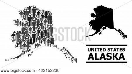 Map Of Alaska State For Demographics Purposes. Vector Nation Collage. Collage Map Of Alaska State De